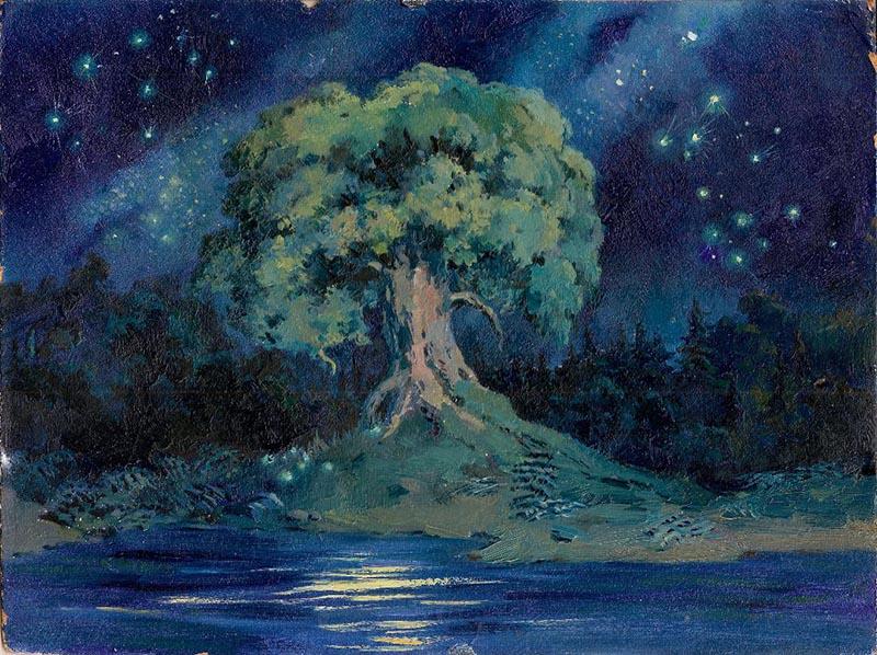 Художник В.А. Нечаева. Картина, живопись : У Лукоморья дуб зелёный.