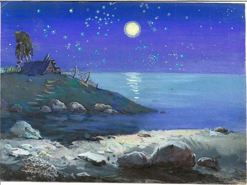 Художник В.А. Нечаева. Картина, живопись : У самого синего моря.