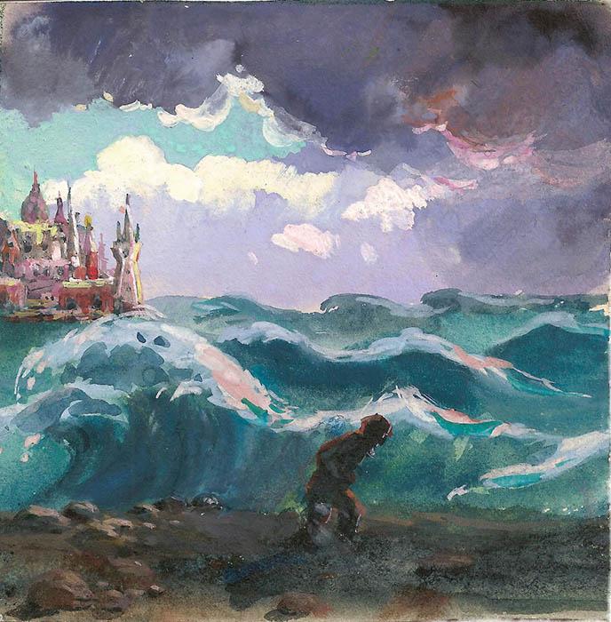 Художник В.А. Нечаева. Картина, живопись : Почернело синее море.