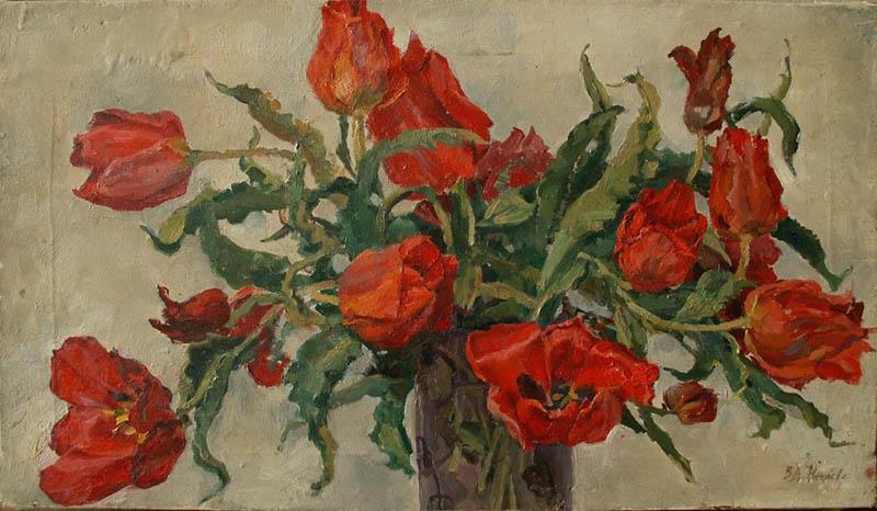 Художник В.А. Нечаева. Картина, живопись : Красный букет.