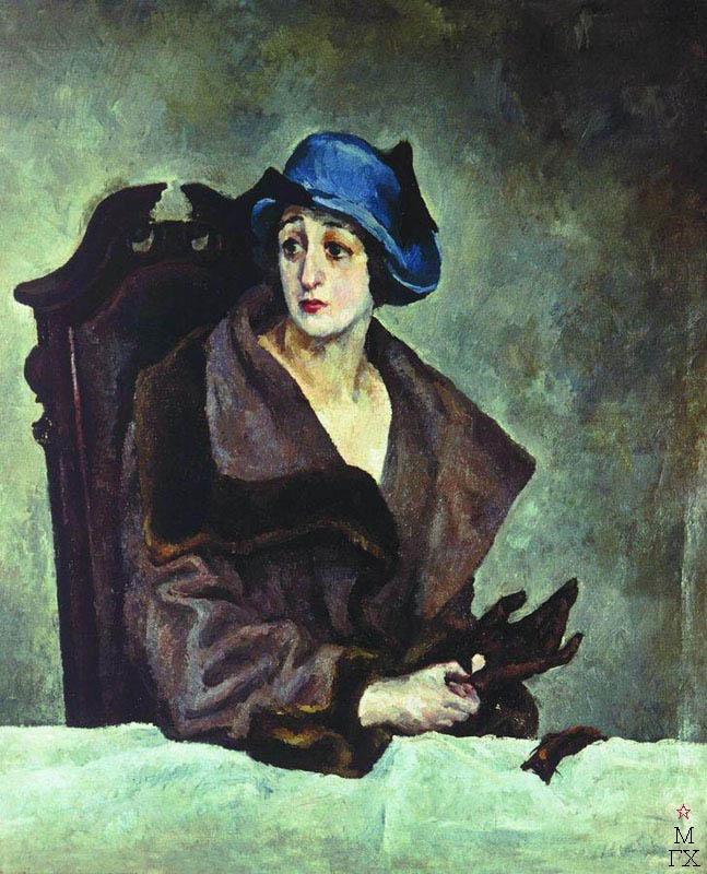 А. А. Осмеркин. Женский портрет. Вторая половина 1910-х. Холст, масло. 72.1x47.5.  Государственная Третьяковская галерея.
