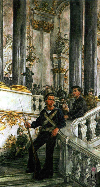 А. А. Осмеркин. Красная гвардия в Зимнем дворце. 1927. Х.М.