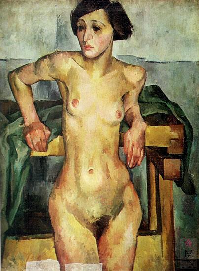 А. А. Осмеркин. Натурщица у станка. 1924. Холст, масло. 107x89.