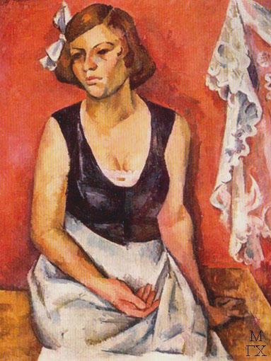 А. А. Осмеркин. Портрет девушки (Женщина и кружево). 1921. Холст, масло. 96x78. ГРМ