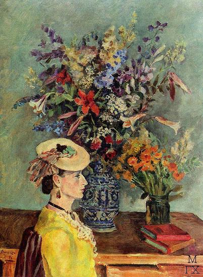 А. А. Осмеркин. Профиль и цветы. (В мастерской художника). 1946. Холст, масло. 130x100. ГТГ