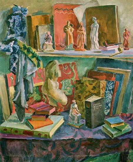 А. А. Осмеркин. Любимые книги и танагра. 1947. Холст, масло. 120x100,5. ГТГ