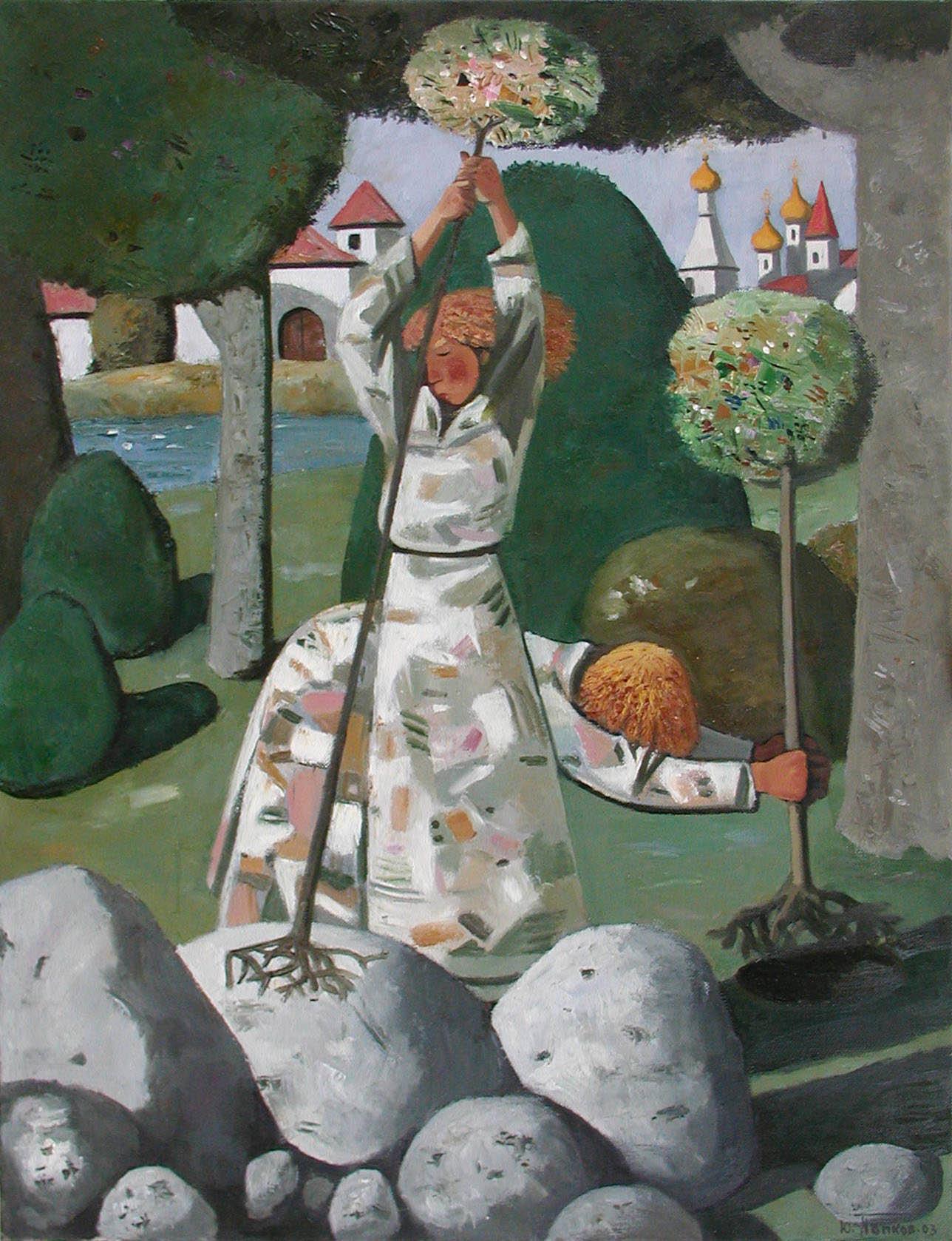 Ю.Н. Попков. Картина : Сажающая и втыкающий. 2003 г. Х., м. 110х90