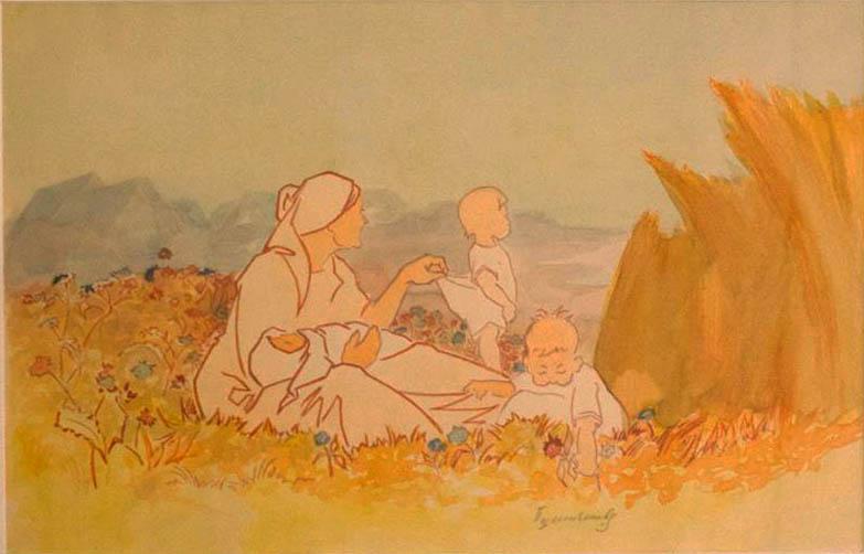В.С. Пшеничников. Картина : Жница. Заставка к календарю. 1920-е г. бум. акварель 25х40