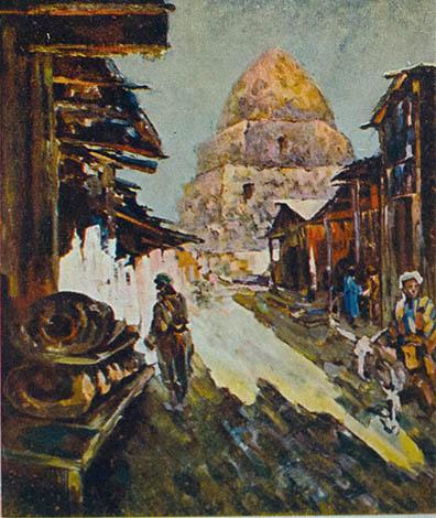 В.С. Пшеничников. Картина : Улица в Самарканде. Открытка (оборот открытки в конце). 30-40 года. Масло на фанере. 80х60.