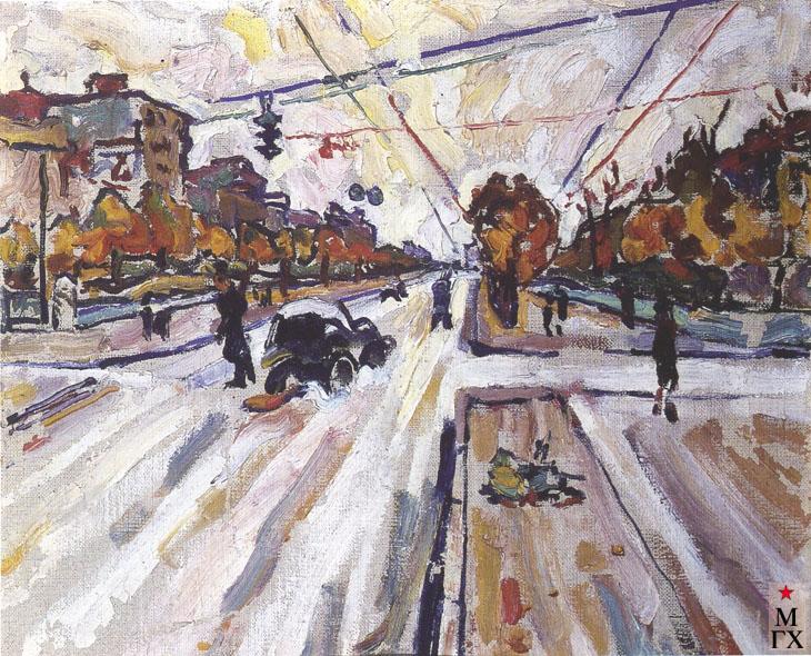 Райская М. И. Москва, Ленинградское шоссе. 1941. К.М. 32.5х41. ГМИИ