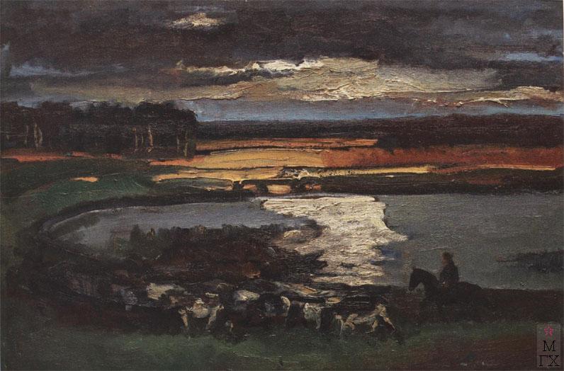 Н.И.Терещенко. Картина : Вечереет. 1990. Х.М. 80х120.