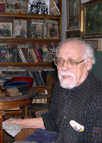 Николай Иванович Терещенко в своей мастерской на Масловке. 2004 г.