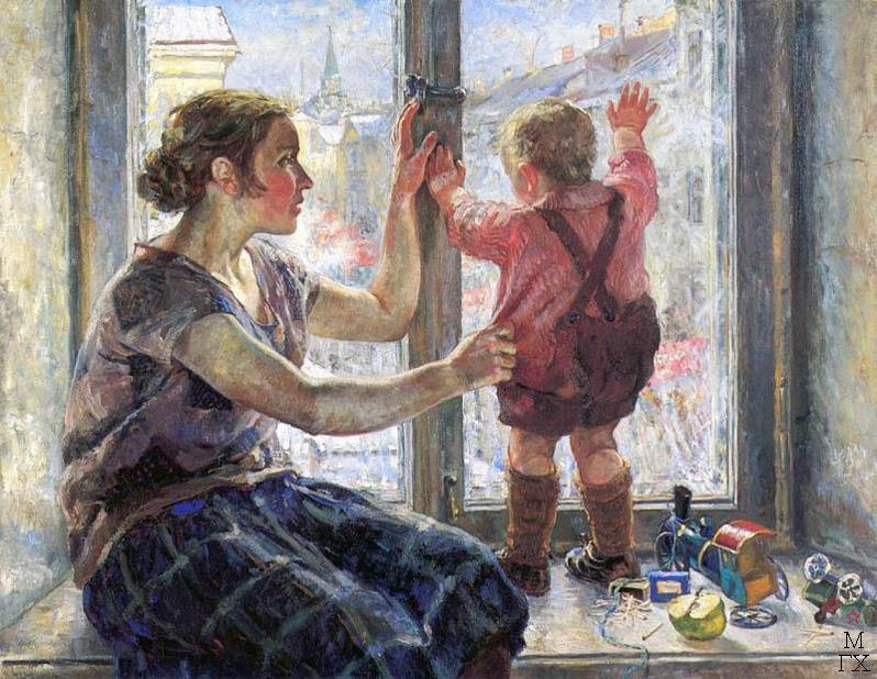 Н.Б. Терпсихоров. Окно в мир. 1928. Холст, масло. 98×124,5.  Нижегородский художественный музей