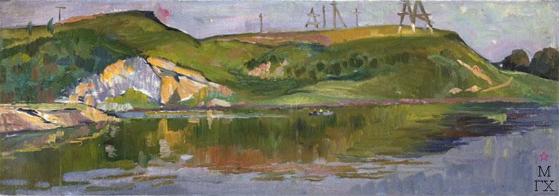 Б.И. Вакс. Картина : Река Тетерев 1967 холст, масло 22,5х63,5.