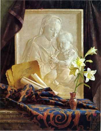 Б.А. Ведерников. Картина : Натюрморт с барельефом. 2001.