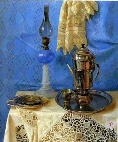 Б.А. Ведерников. Картина : Натюрморт с синей лампой. 2000.