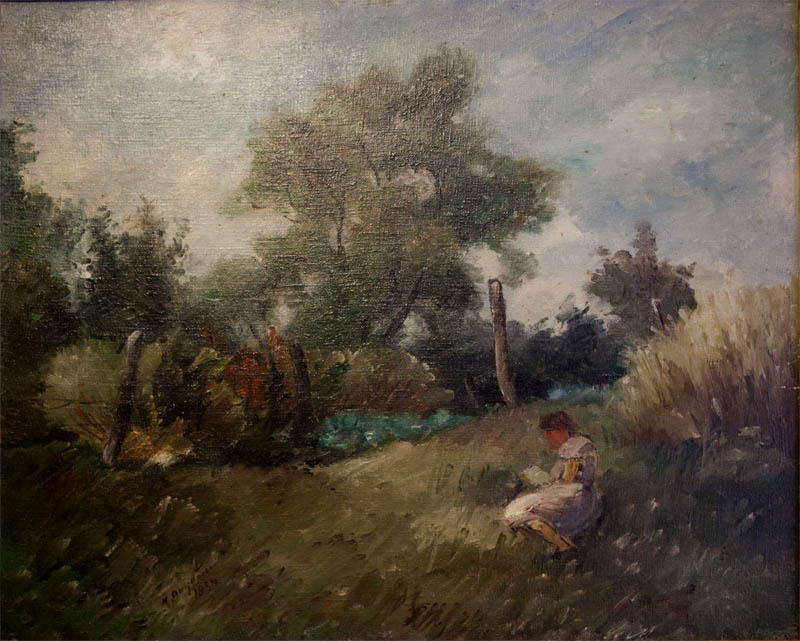 И.И. Якубени. Картина : Пейзаж с супругой художника. 1934. Х.М. 54х42.