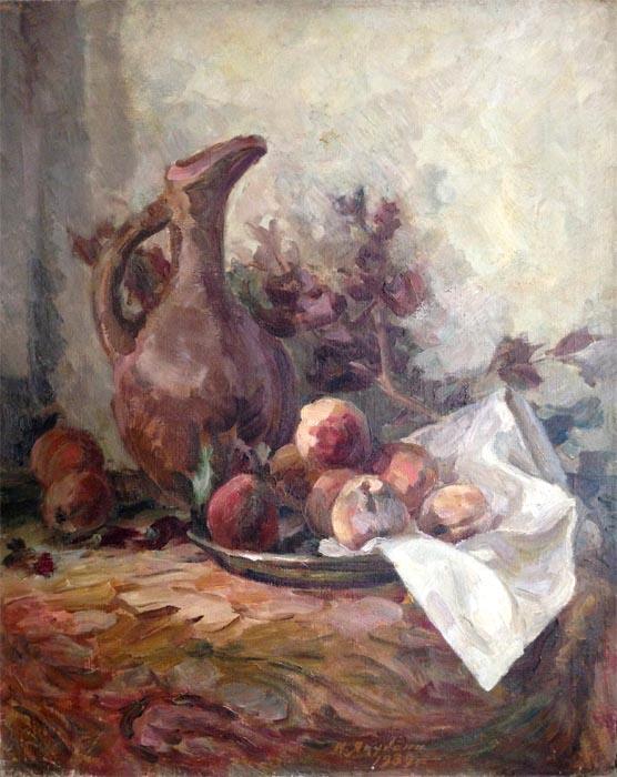И.И. Якубени. Картина : Персики. 1939. Х.М. 64х56