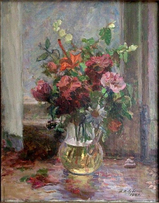 И.И. Якубени. Картина : Натюрморт с цветами. 1945. Х.М. 44х35
