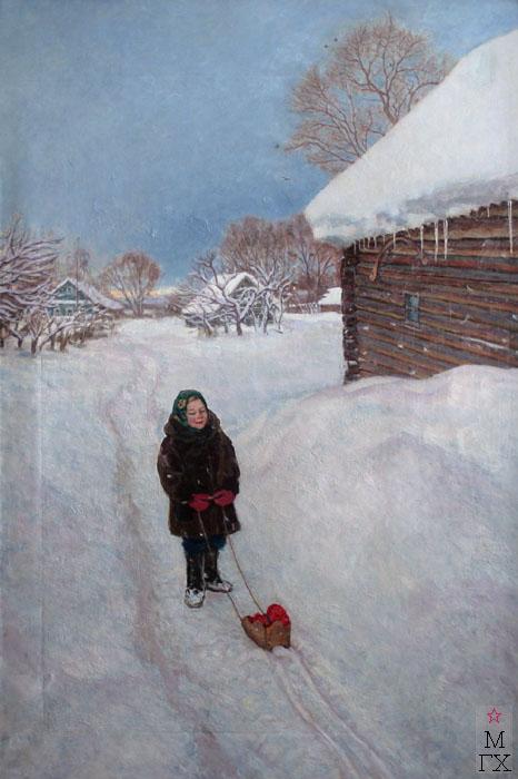 Е.Н. Зайцев. Картина : Зимой в деревне. 2009-2012. Х.М. 196х69