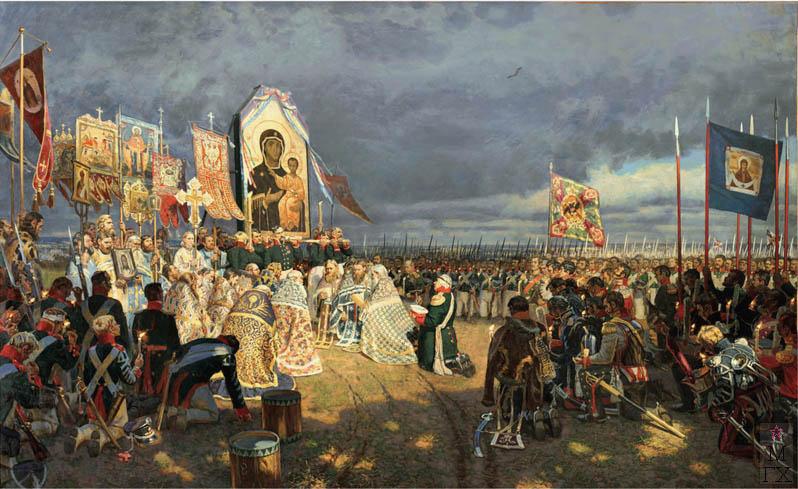Е.Н. Зайцев. Картина : Молебен на Бородинском поле. 1995-2005. Х.М. 130х507.